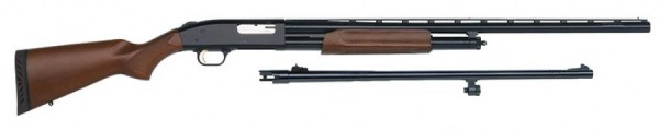 Moosberg model 500 Combo .12 ga, 3'' chamber, 24'' rifled bbl, and 28'' vent rib bbl, new. - Product Image
